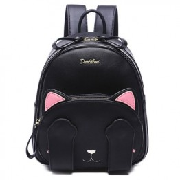 Cute Cat Pattern and Black Design Backpack For Women