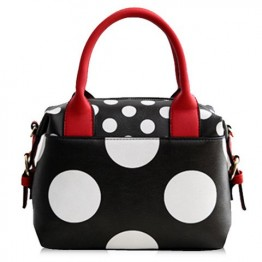 Fashionable PU Leather and Polka Dot Design Tote Bag For Women