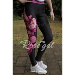 Chic Cartoon Printed Color Block Elastic Bodycon Yoga Pants For Women