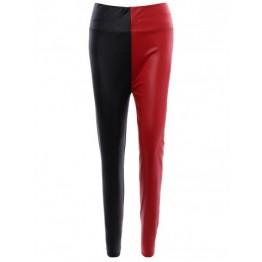 Color Patchwork Slimming Leather Pants