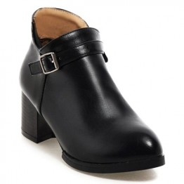 Casual Solid Color and Buckle Design Women's Boots