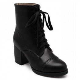 Concise Chunky Heel and Lace-Up Design Women's Boots