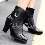 Elegant Patent Leather and Metallic Design Women's Ankle Boots