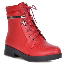 Fashionable Solid Color and PU Leather Design Women's Short Boots