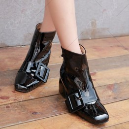 Patent Leather Square Toe Buckle Short Boots