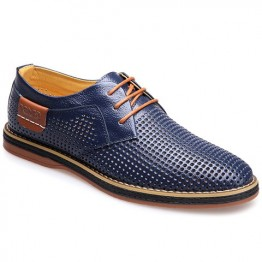 Preppy Style Hollow Out and Lace-Up Design Round Toe Men's Formal Shoes