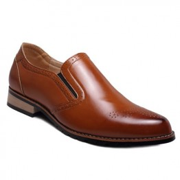 Retro Style Engraving and Solid Color Design Men's Formal Shoes