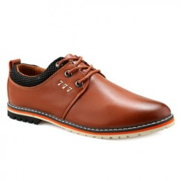 Simple PU Leather and Lace-Up Design Formal Shoes For Men